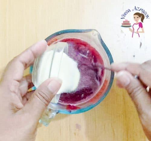 Preparing the blackberry jello for the panna cotta mixture Progress Pictures