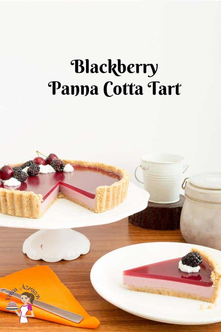A classic blackberry tart with pannacotta and jello