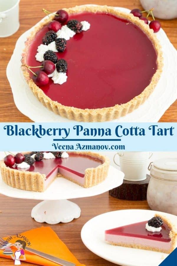 Pinterest image for panna cotta tart.