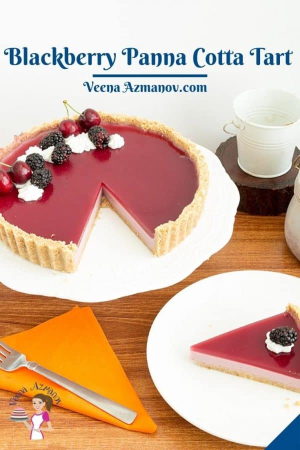 Pinterest image for panna cotta tart with blackberries.