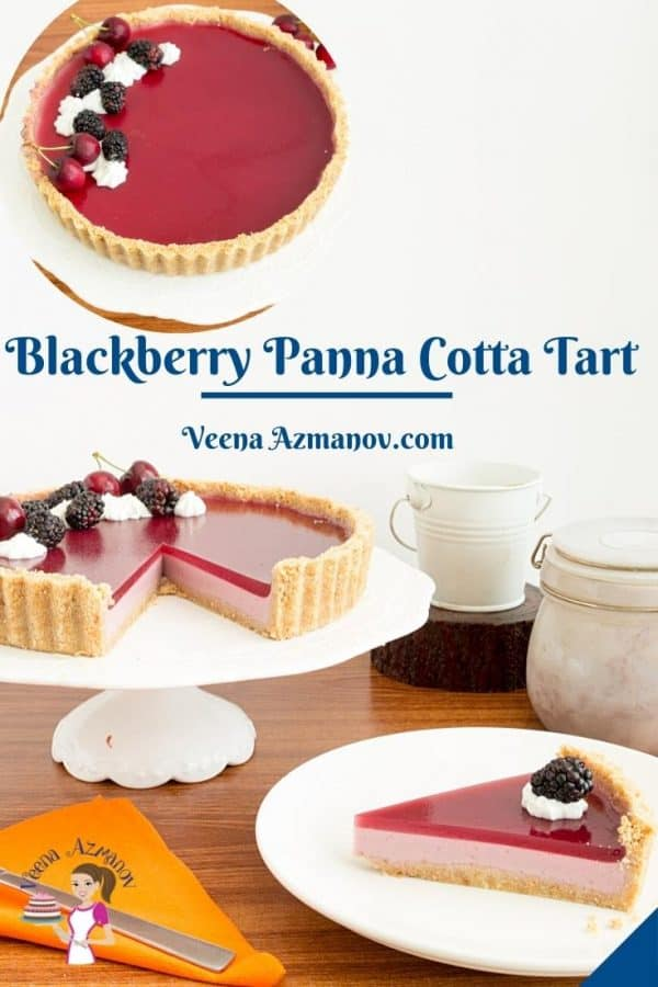 Pinterest image for blackberry panna cotta tart.