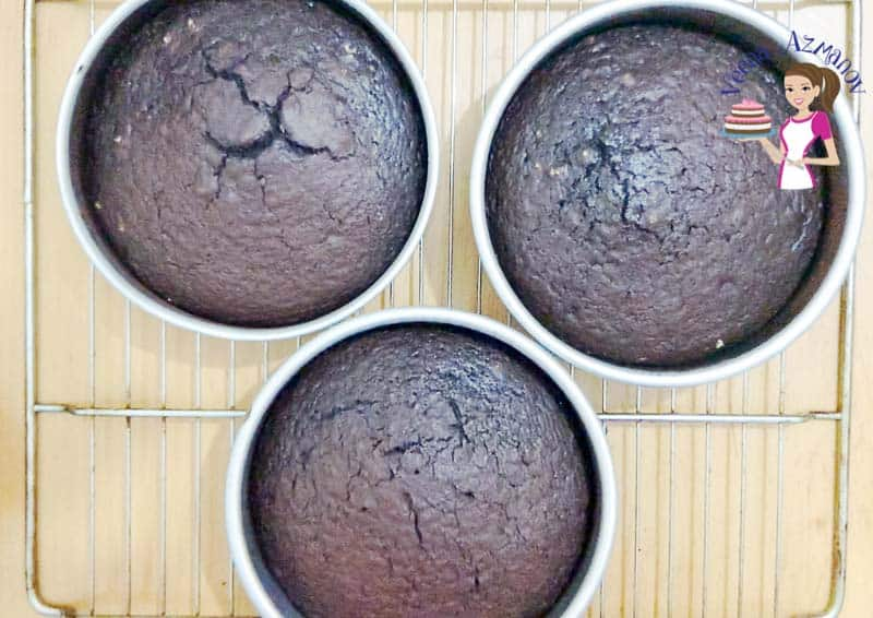 Fresh baked chocolate cakes out of the oven - progress pictures