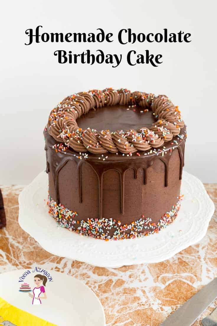 Pleasing Homemade Chocolate Birthday Cake Recipe Veena Azmanov Personalised Birthday Cards Veneteletsinfo