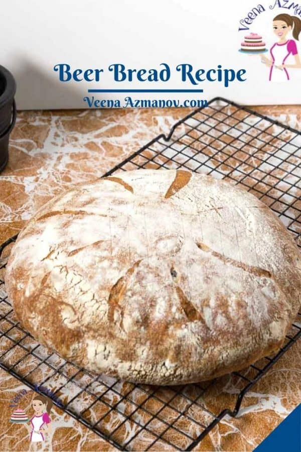 Pinterest image for no knead bread with beer.