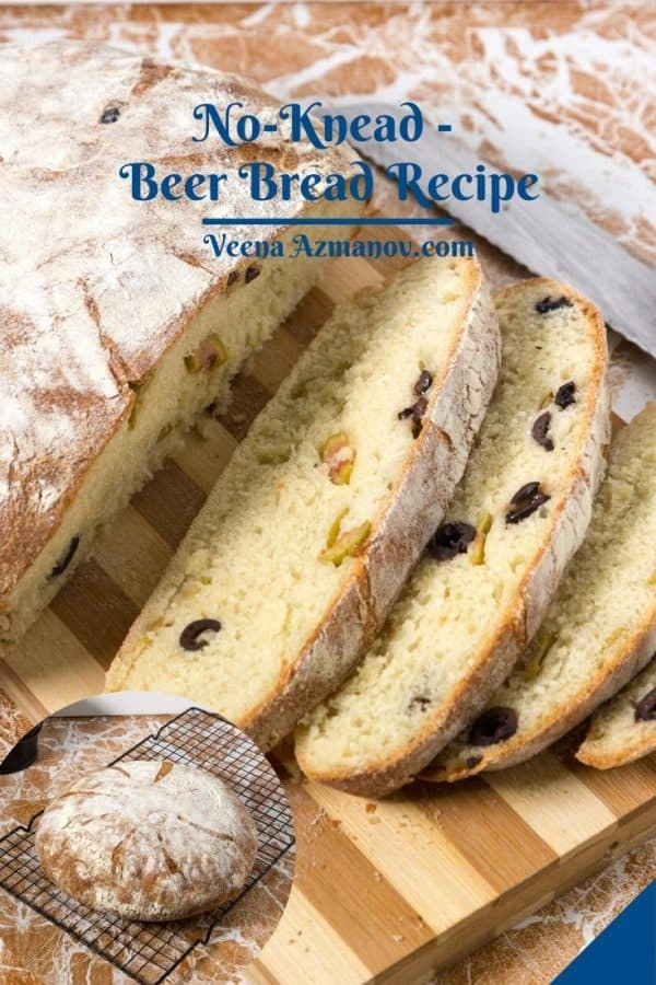 Pinterest image for no knead beer bread.