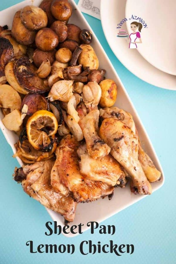 A tray of sheet pan chicken.