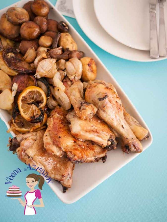 The perfect meal in a sheet pan with chicken, mushrooms and lemon flavor