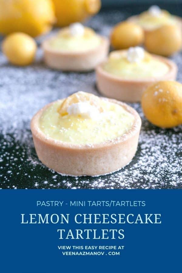 Pinterest image for lemon cheesecake tarts.