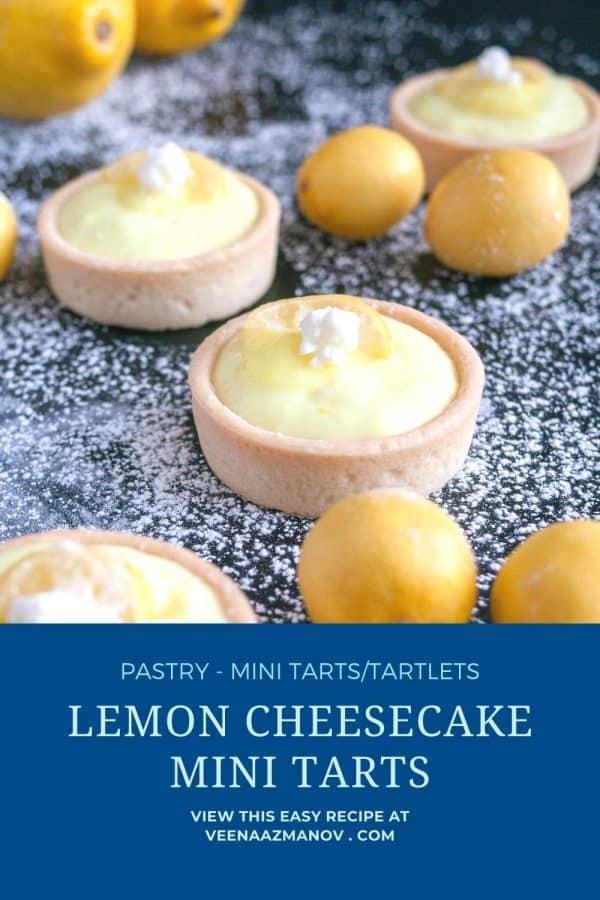 Pinterest image for lemon cheesecake tartlets.