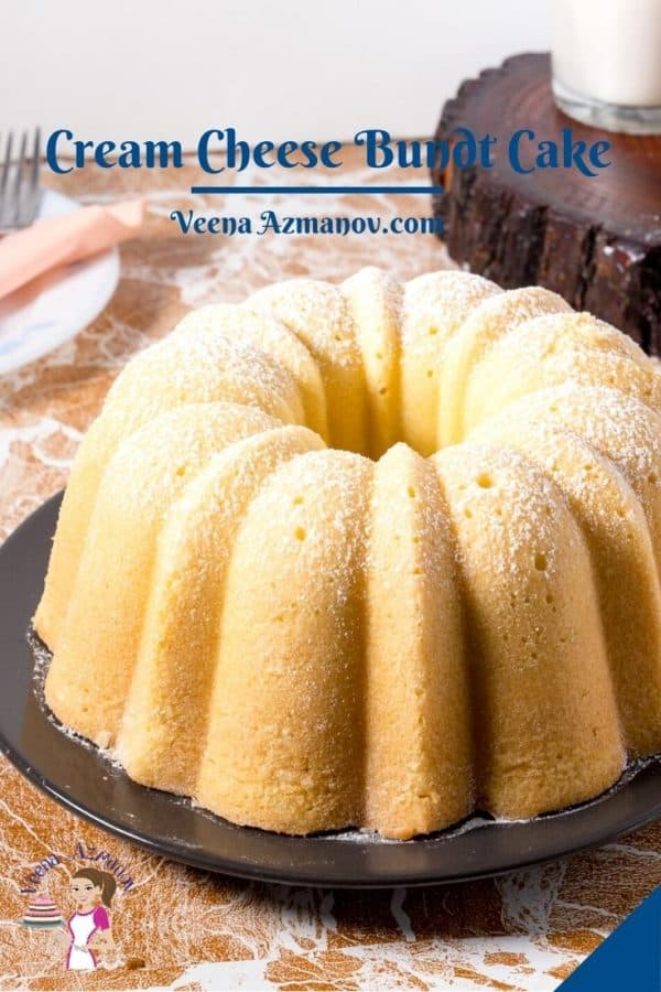 Pinterest image for pound cake on a black plate.