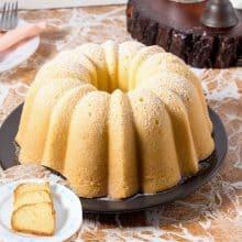 Cream Cheese Pound Cake on a plate.