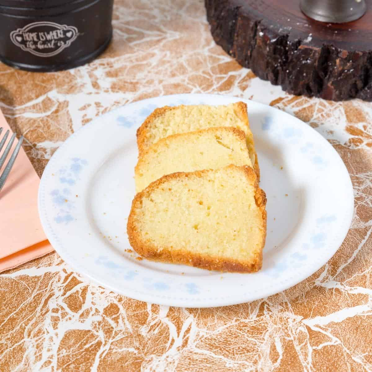Slices of pound cake on a plate.
