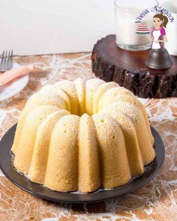 A pound cake on a plate.