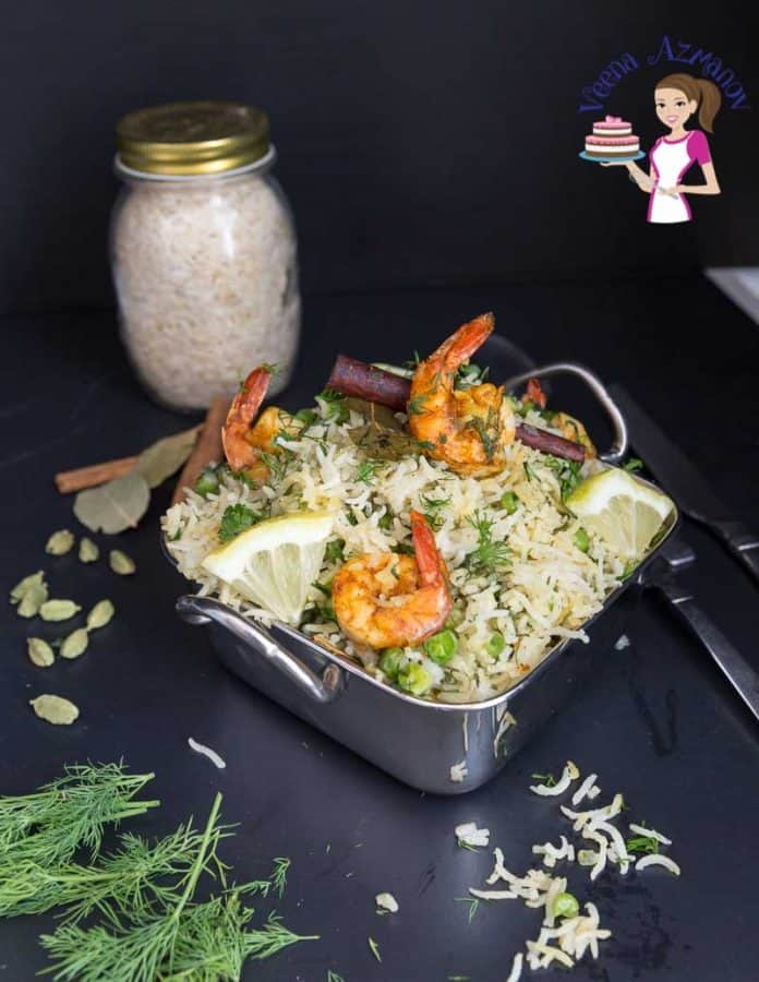 Prawns with rice in a serving dish.