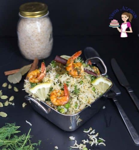 Shrimp with rice in a serving dish.
