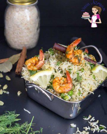 An Indian prawn pilau in a serving dish.