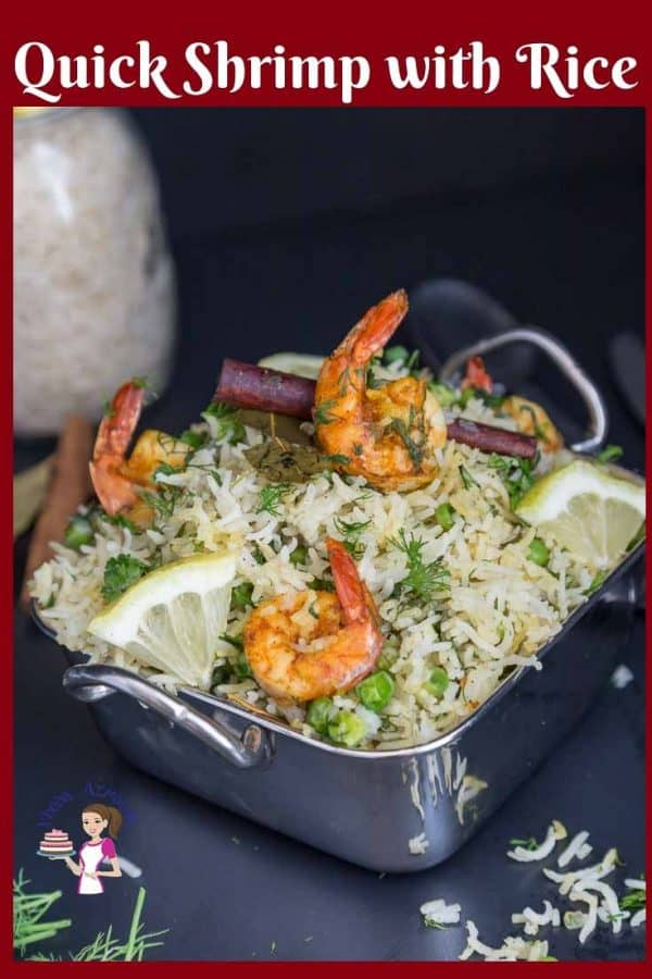 An Indian shrimp pilaf in a serving dish.