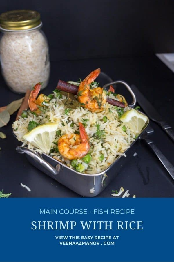 Pinterest image for rice with shrimps.
