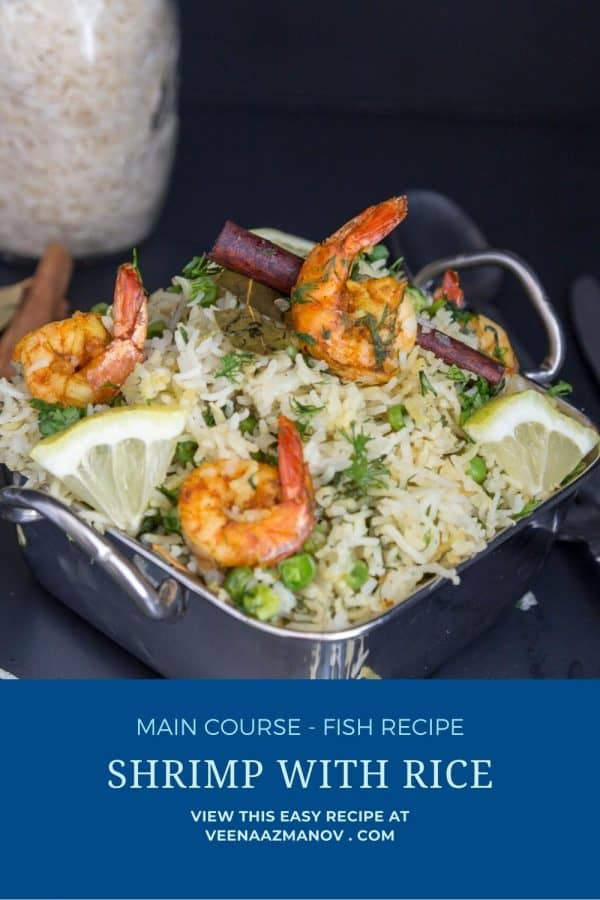 Pinterest image for shrimps with rice.