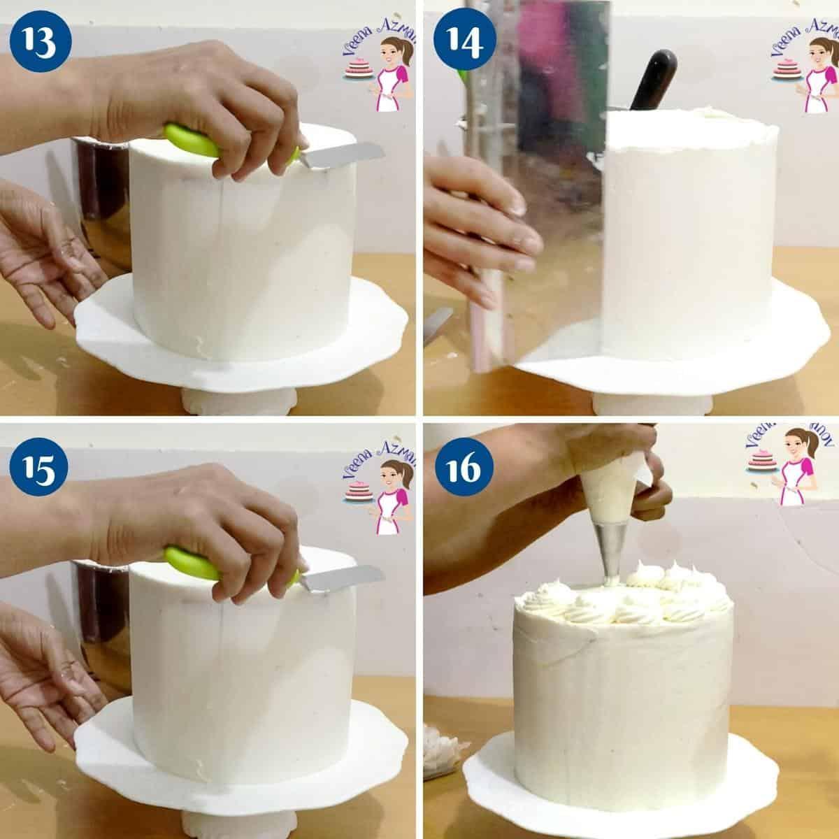 Progress pictures collage decorating birthday cake.