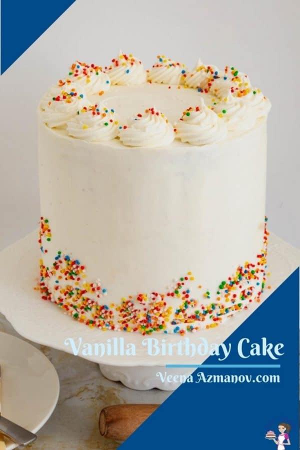 Pinterest image for vanilla birthday cake
