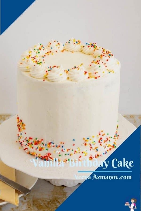 Pinterest image for vanilla cake