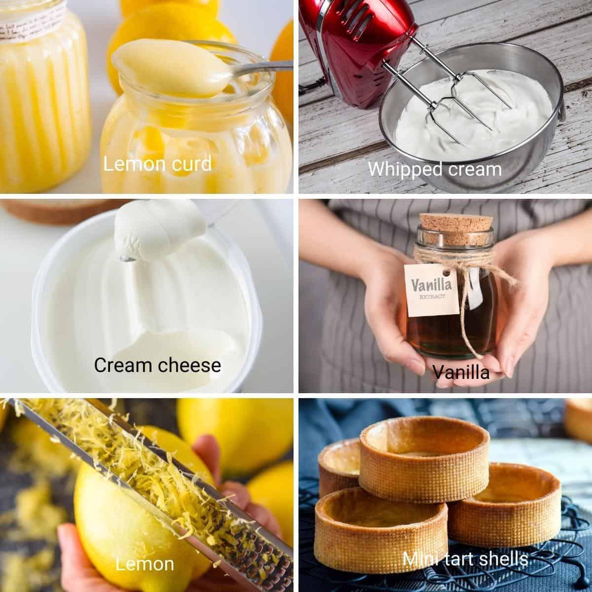 Ingredients for lemon cheesecake tarts.