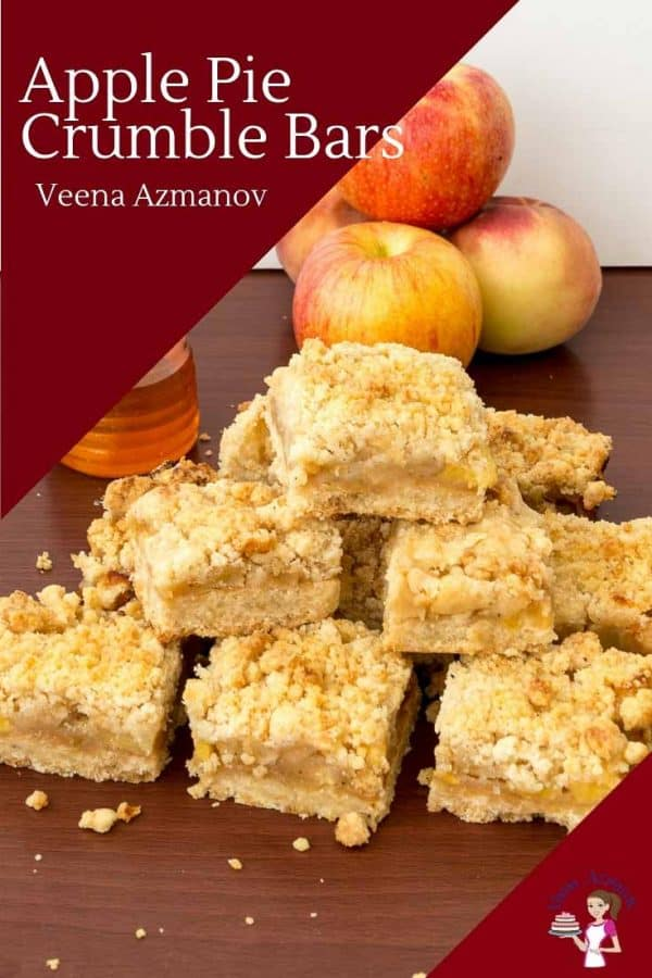 A stack of apple crumble squares on a table.