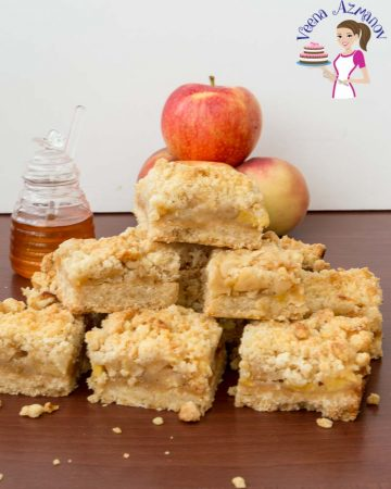 A stack of apple crumble squares.