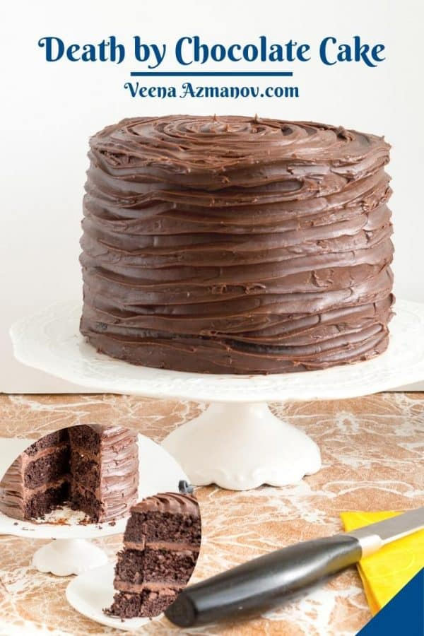 Pinterest image for death by chocolate cake.