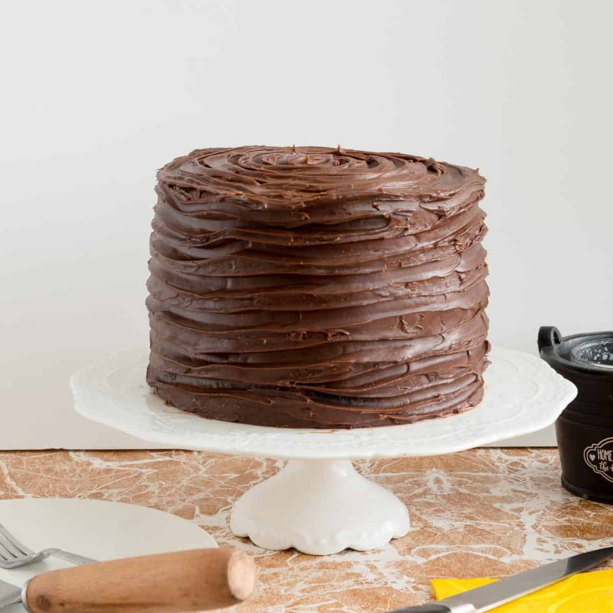 Chocolate cake frosted with ganache on cake stand.