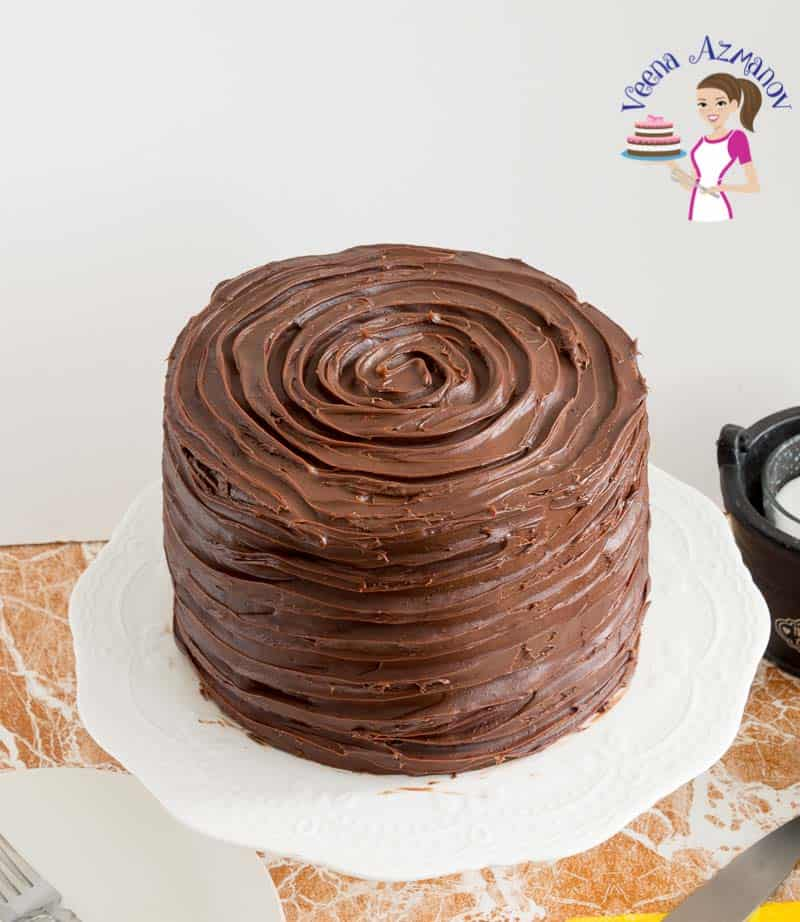 chocolate cake on a cake stand.