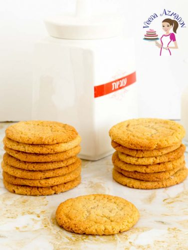 A stack of cookies on a table.