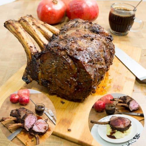 Rib roast on a wooden board with gravy