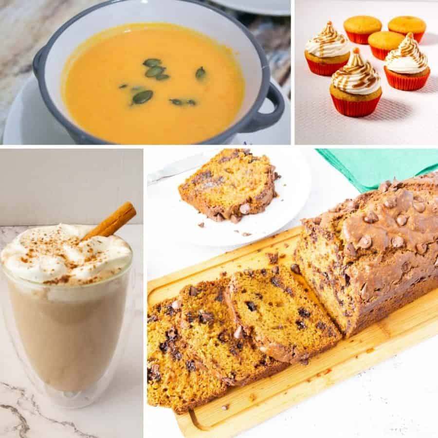 A collage of pumpkin recipes.