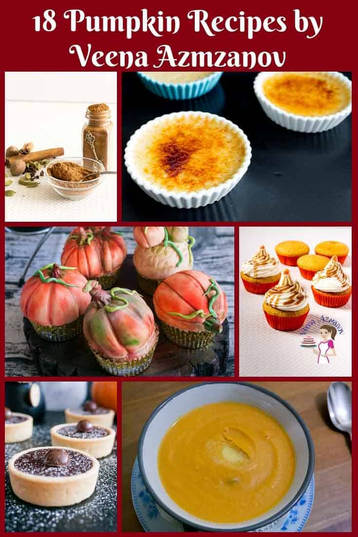 This is the perfect time to enjoy the seasonal pumpkin. Here are 18 must-try pumpkin recipes for fall that I have shared with you. From comforting warm soups, cupcakes, muffins, desserts or indulgent cakes. #pumpkin #recipes #soups #cakes #pies #desserts #cupcakes #baking via @Veenaazmanov