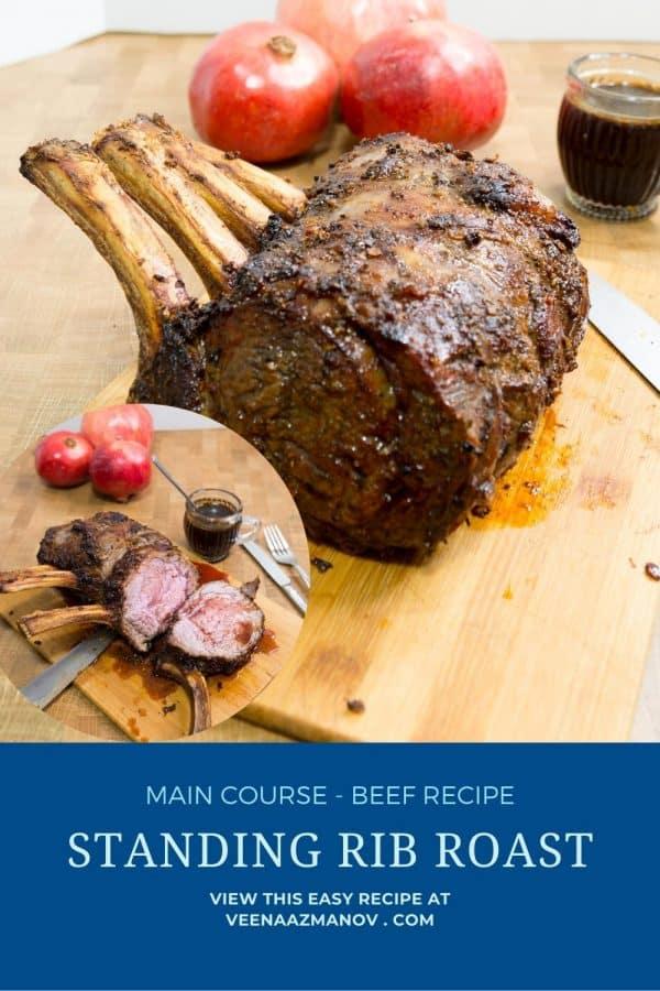 Pinterest image for standing rib roast.