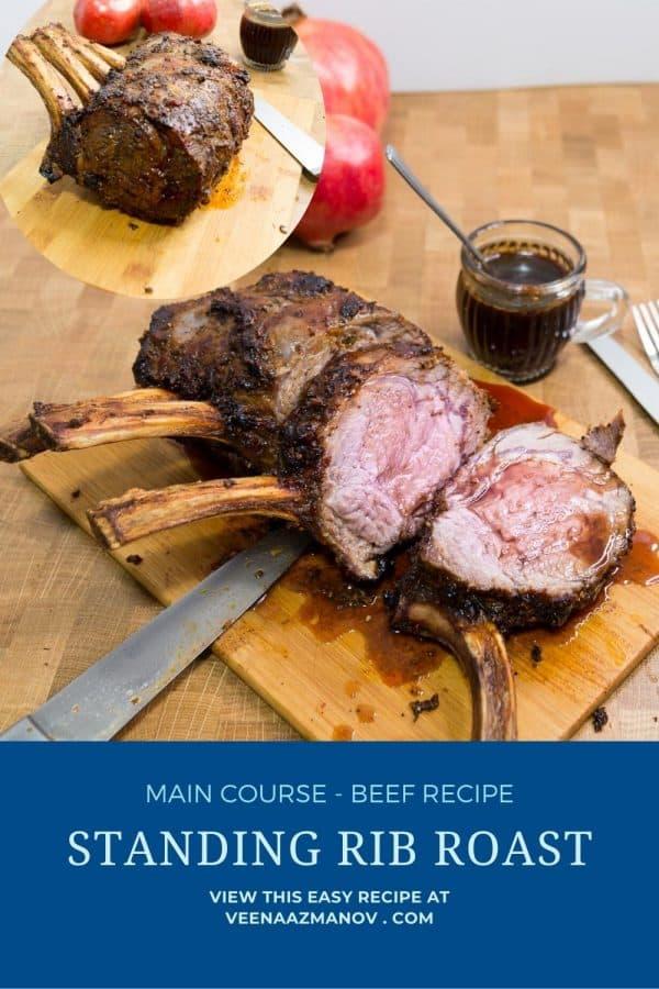 Pinterest image for prime rib roast.