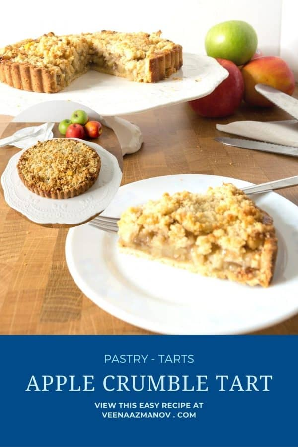 Pinterest image for crumble tart with apples.