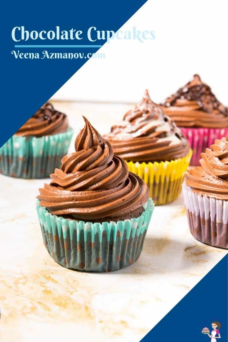 Pinterest image for cupcakes with chocolate frosting