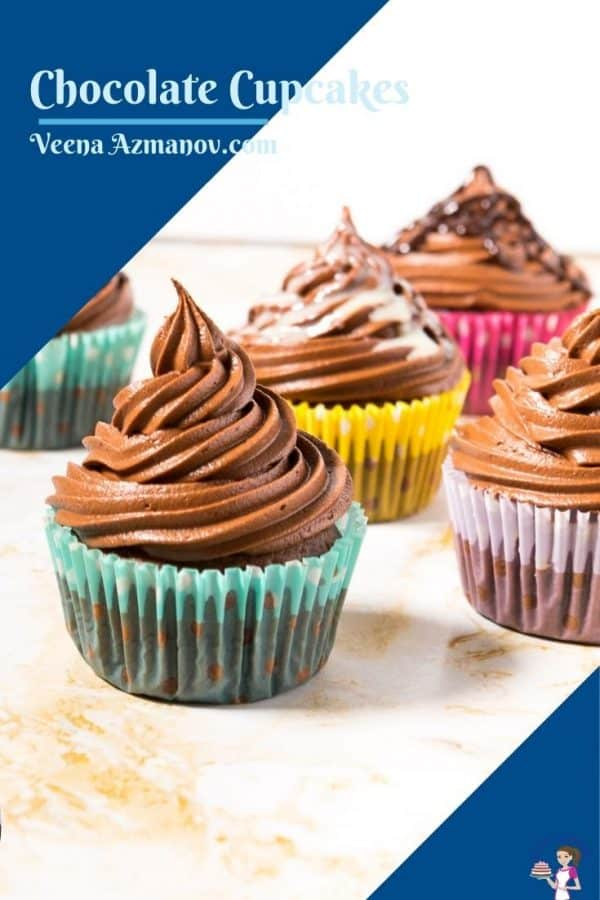 Pinterest image for chocolate cupcakes