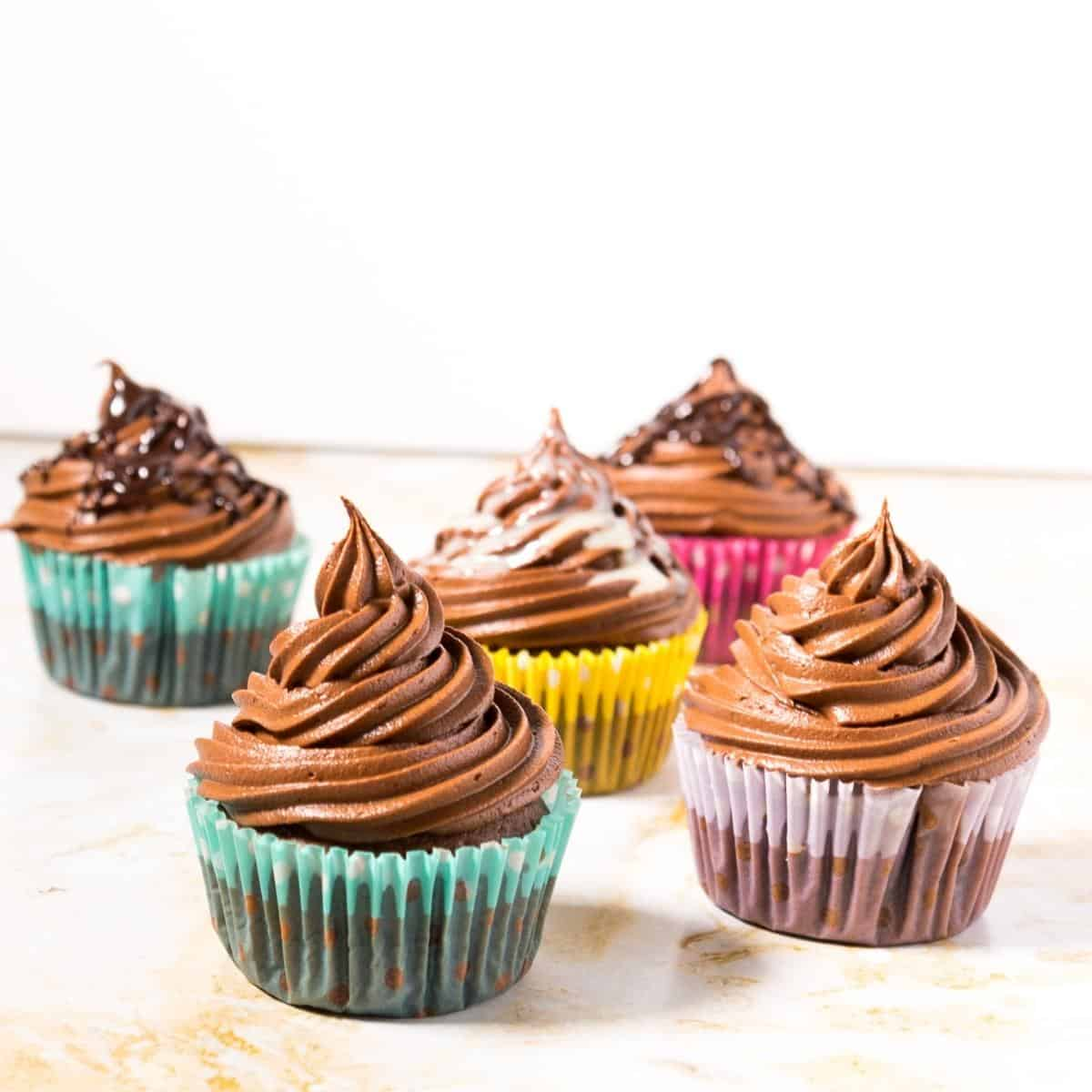 Five frosted chocolate cupcakes