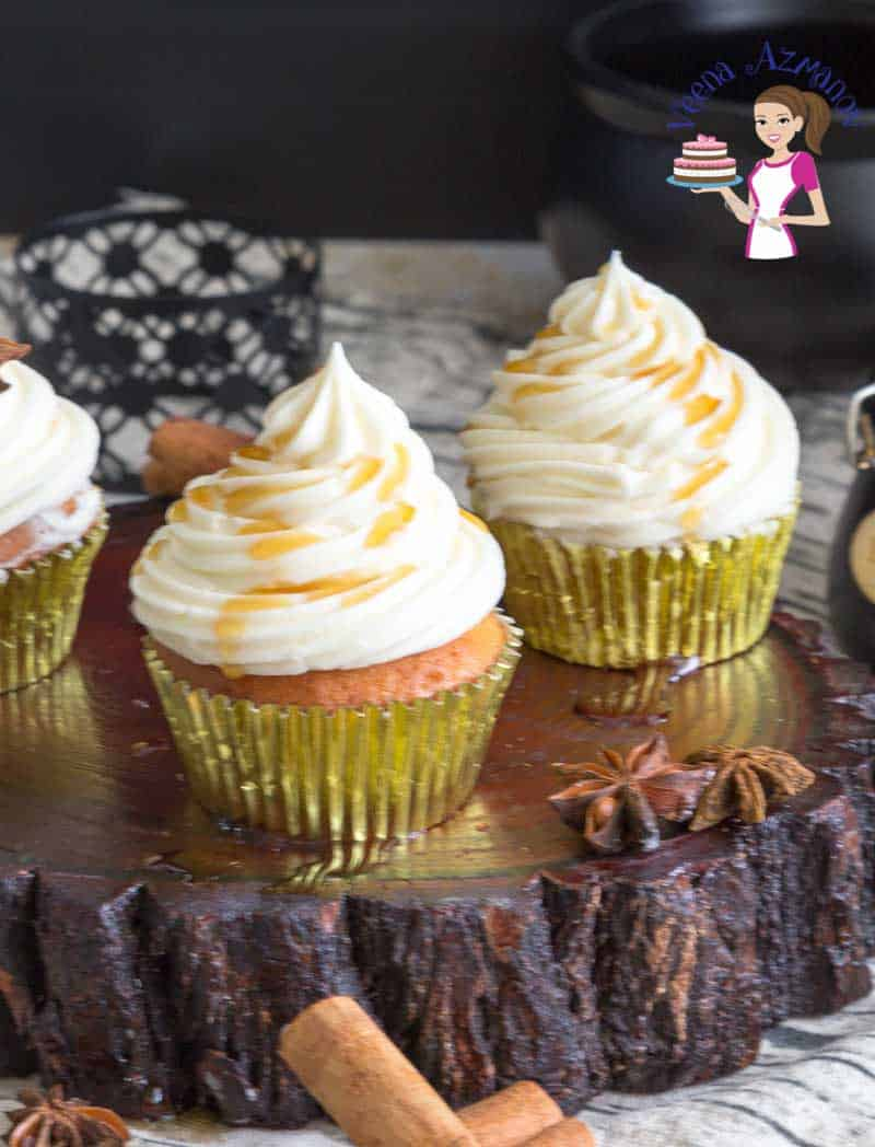 Best fall cupcakes with maple and brown sugar topped with maple frosting