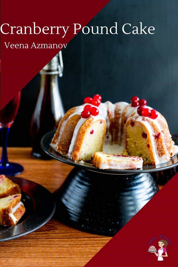 A classic Pound Cake in a Bundt Pan with Fresh Cranberries and Vanilla Glaze