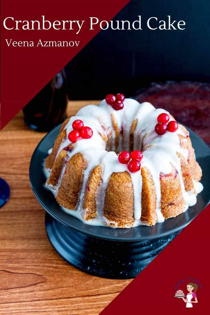 This cranberry pound cake is the perfect Christmas celebration cake. Baked in a bundt pan and dressed with classic vanilla glaze this cake is moist, deliciously sweet with the tartness of fresh cranberries. The recipe uses my moist buttery vanilla pound cake with buttermilk-added for that extra soft crumb. #cranberry #pound #cake #cranberrypoundcake #cranberrybundtcake #bundtcake #cake #recipe #cranberrycake via @Veenaazmanov
