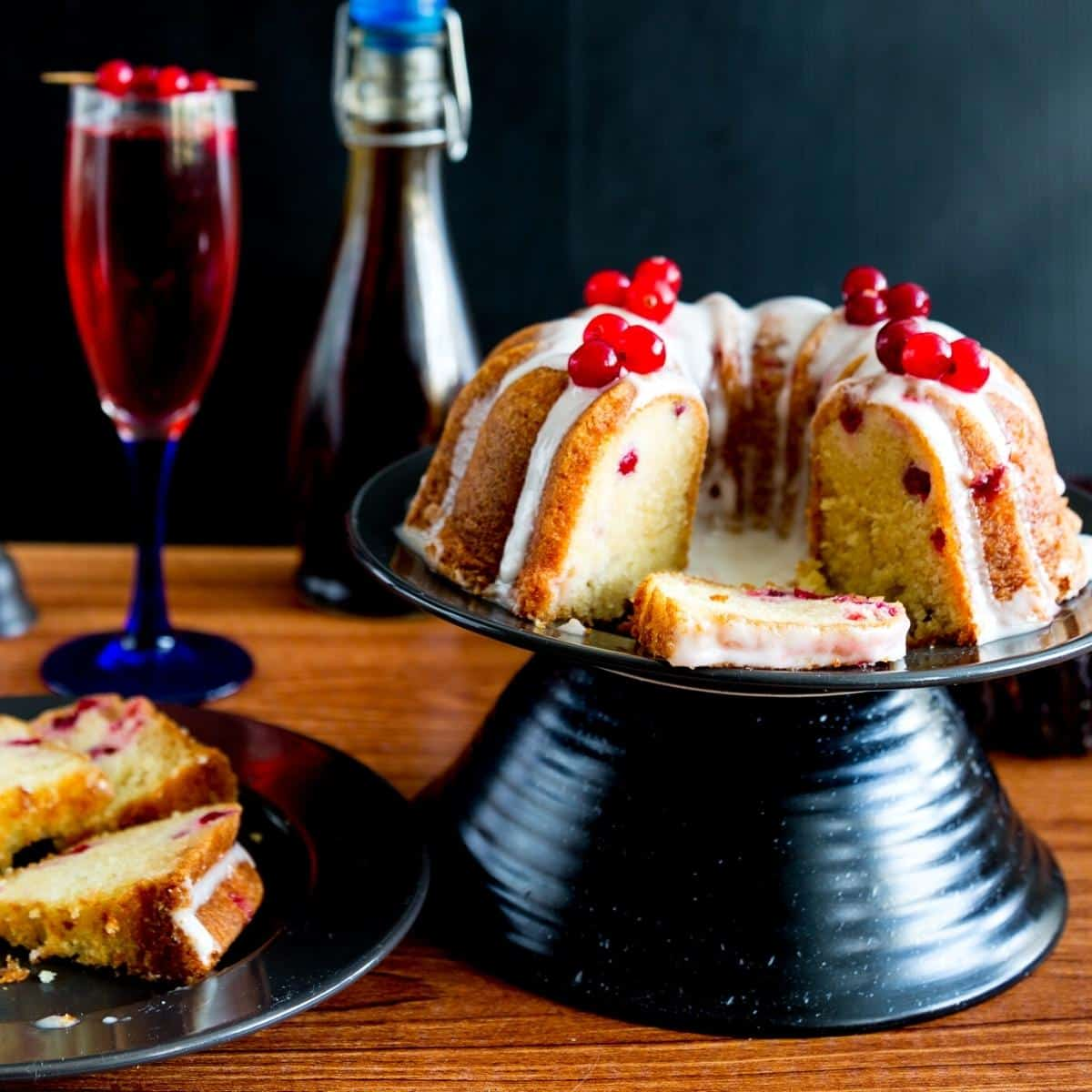 A bundt cake on a cake board