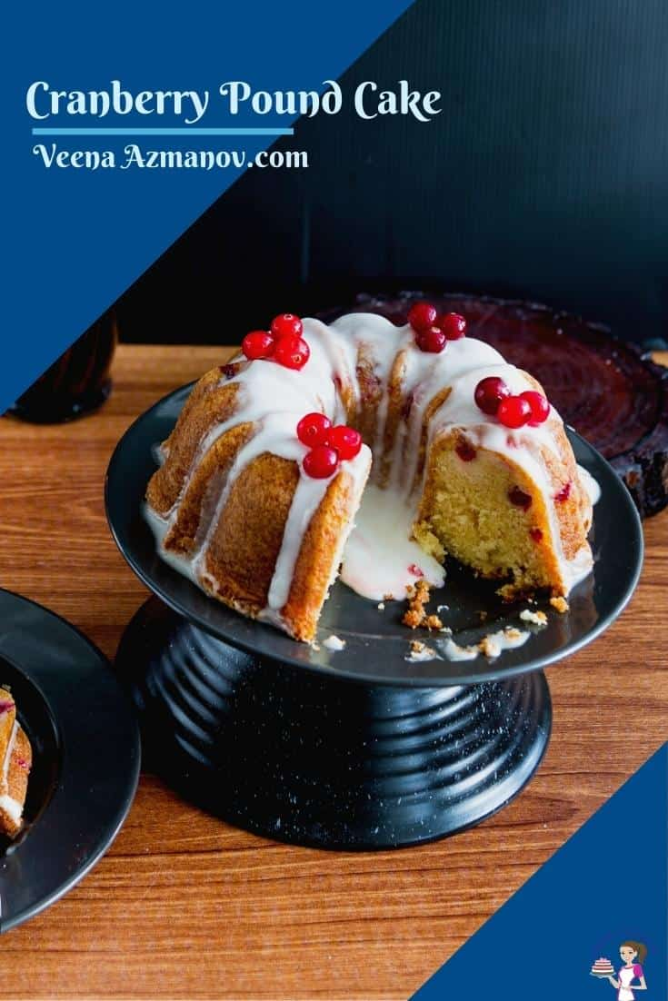 This cranberry pound cake with fresh cranberries is baked in a bundt pan and dressed with classic vanilla glaze. Using my moist butter-based vanilla pound cake as a base with buttermilk added for that extra soft crumb #cranberry #pound #cake #cranberrypoundcake #poundcake #cakerecipes #Christmascake #Holidaycake #bestcakerecipe  via @Veenaazmanov
