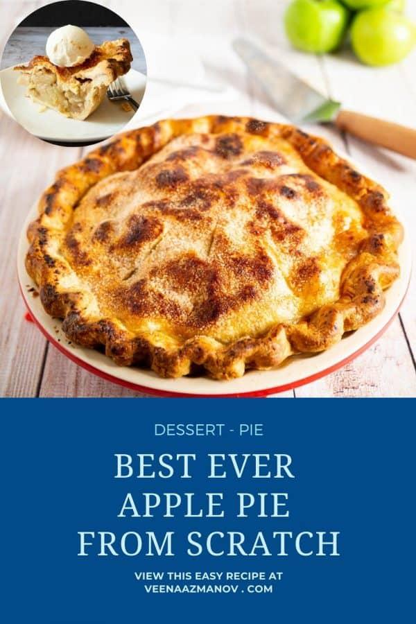 Pinterest image for apple pie recipe.