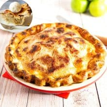 A pie in a pie pan with apples.