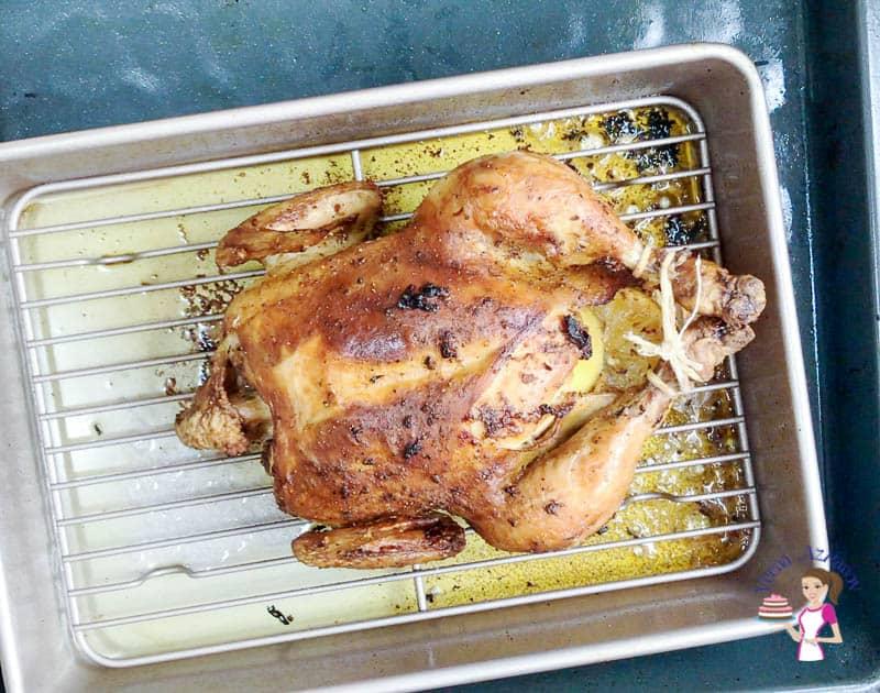 Roast the chicken until golden.